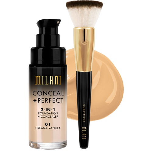 Milani Cosmetics Milani Conceal & Perfect Liquid Foundation Sand Beige & Brus