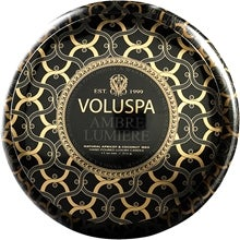 Voluspa 2-Wick Maison Metallo Candle Ambre Lumiere