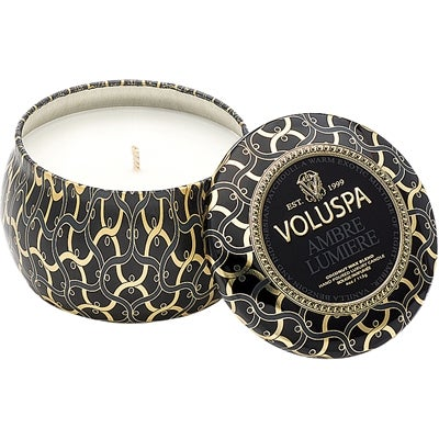 Voluspa Decorative Tin Candle Ambre Lumiere